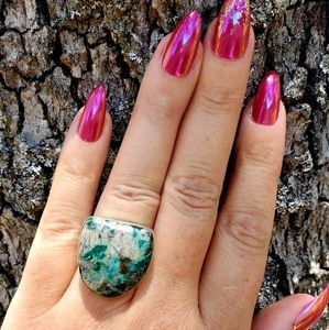 Beautiful Teal Jasper Artisan Silver Ring NWOT